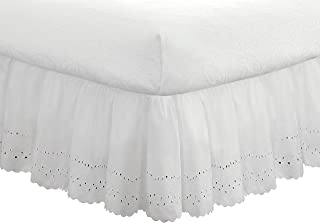 "Fresh Ideas FRE30018WHIT03 Eyelet Ruffled Bedskirt – Ruffled Bedding with Gathered Styling – 18"" Drop, Queen, White"