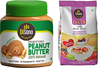 DiSano All Natural Peanut Butter, Crunchy, 30% Protein, Unsweetened, Gluten Free, 1 Kg + Disano High in Protein and Fibre ...