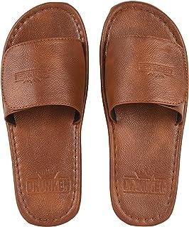 DRUNKEN Mens Open Toe Synthetic Leather Outdoor Slippers