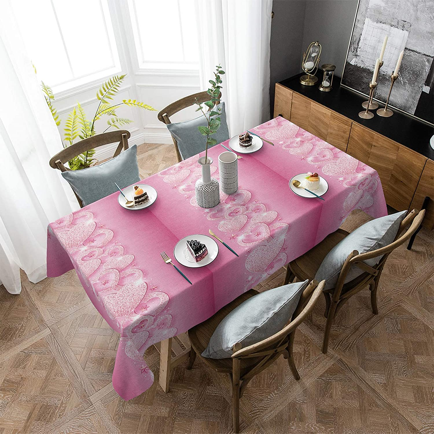 Aomike Linen Rectangle Tablecloth Happy Pink Swe Albuquerque Mall 2021 Day Valentine's