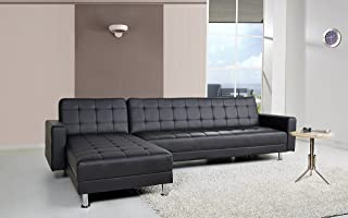 Gold Sparrow Frankfort Convertible Sectional Sofa Bed, Black