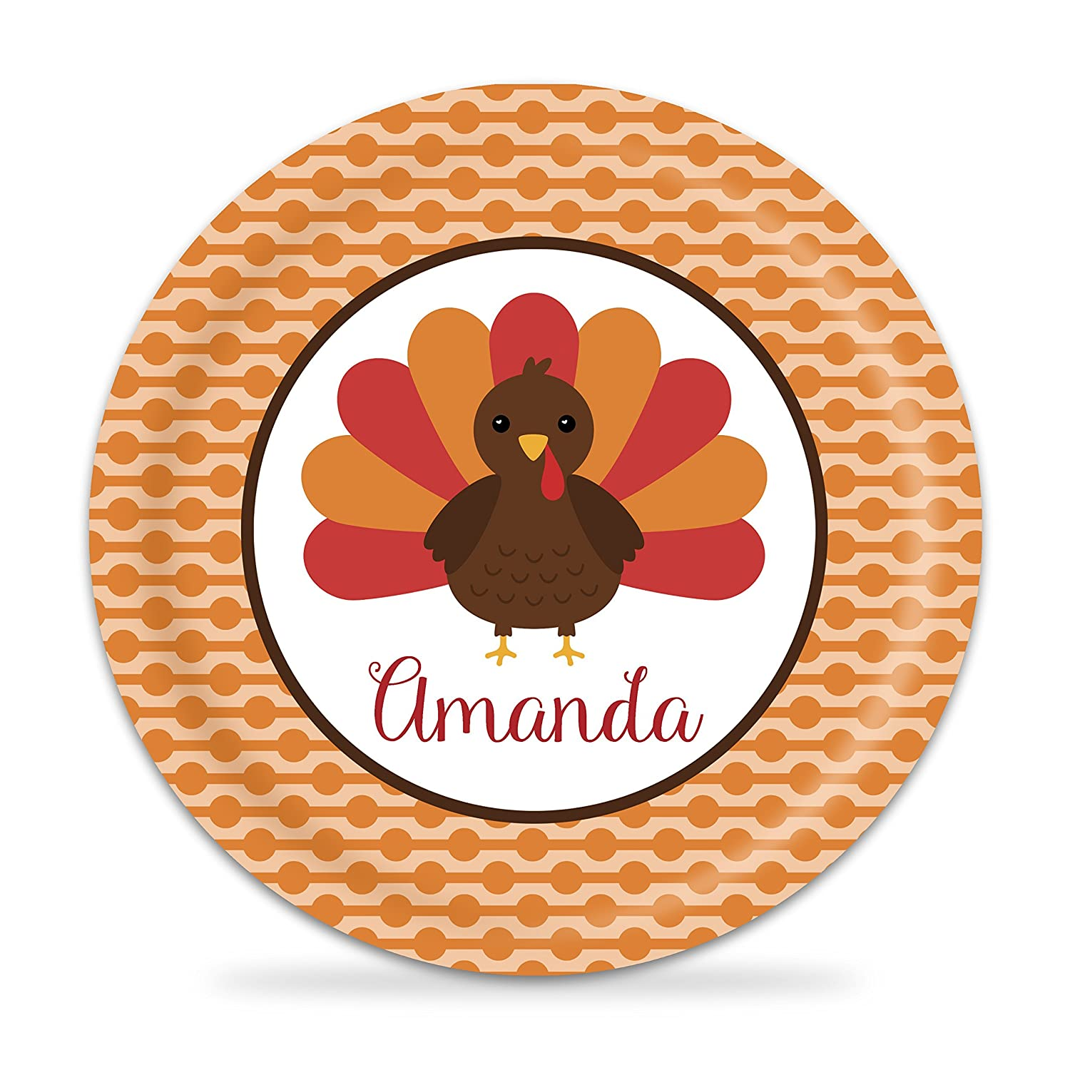 Thanksgiving Plate Columbus Mall - Orange Dots Turkey Special sale item Melamine Na Personalized