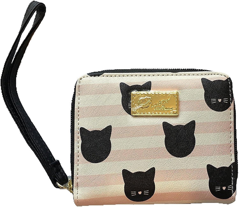 Betsey Johnson Pink Striped Kitty Zip Wallet