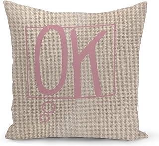 Ok Beige Linen Pillow with Rose Gold Glitter Foil Print Speech Bubble Couch Pillows
