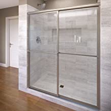 Basco Deluxe Framed Sliding Shower Door, Fits 54-56 inch opening, Clear Glass, Silver Finish
