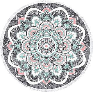 Zeronal Beach Throw Picnic Blanket Yoga Mat Beach Towel Round Tapestry Mandala Wall Hanging Hippie Wall Decor Art Psychedelic Tapestries