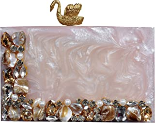 sugarcrush Women's Acrylic Embellished Clutch purse with Detachable Sling (Cream)