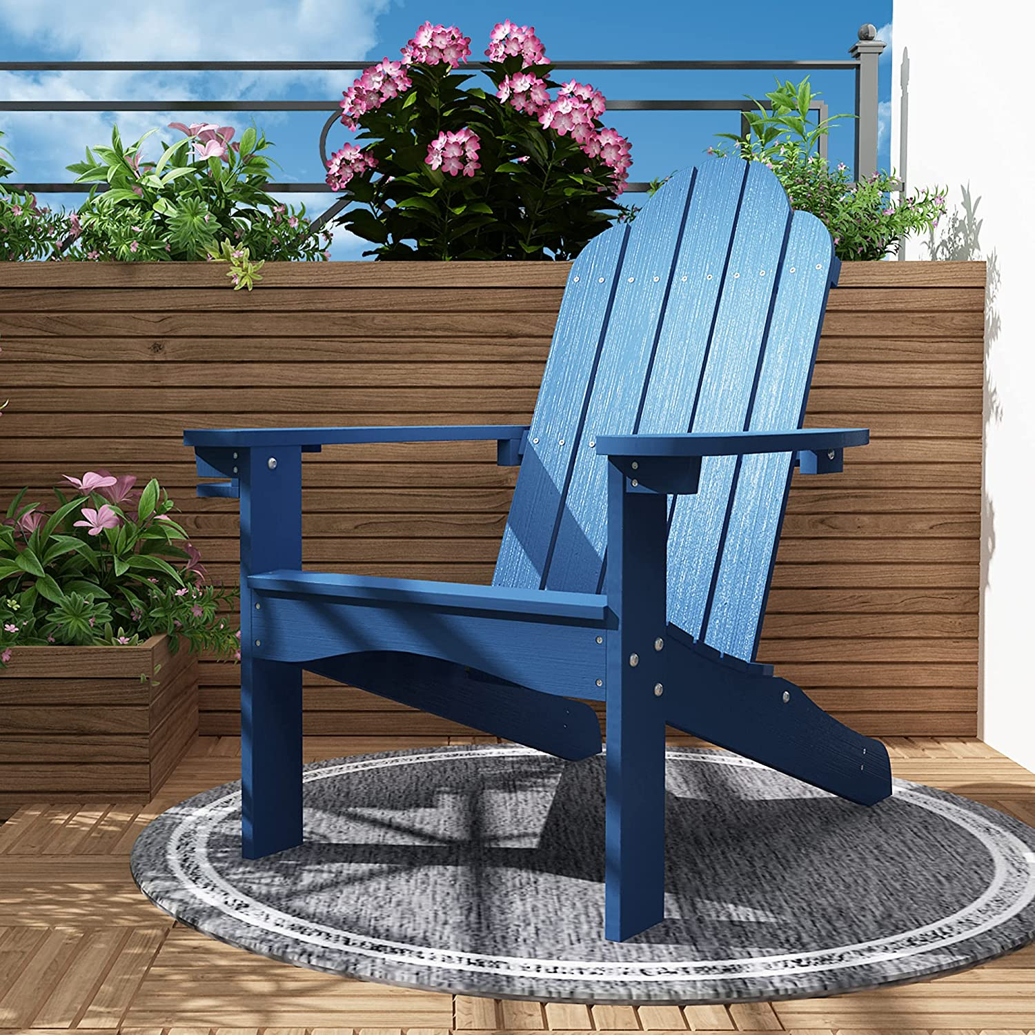 Adirondack Chair High quality new Courier shipping free shipping Weather Resistant Navy Patio Chai Outdoor Blue