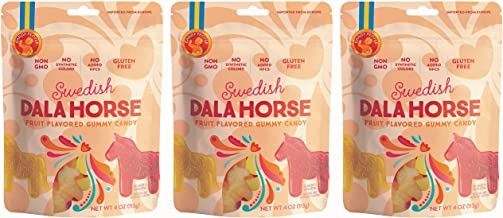 100% Swedish Gummy Candy Dala Horse Fruit Flavored Gummies Clean Candy Gelatin Free and Gluten Free Pack of 3