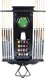 Iszy Billiards - Cue Rack Only 10 Pool Cue - Billiard Stick Wall Rack W/Clock Black Finish