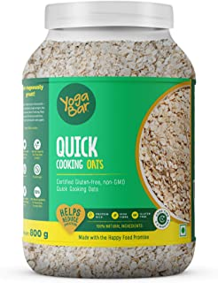 Yogabar Ready to Cook Oats 800g | Premium Oats, Gluten Free Oats with High Fibre, 100% Whole Grain, Non GMO, No Added Suga...