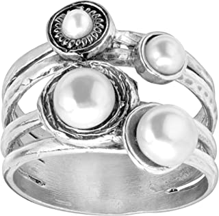 Oceans Away' Ring with 3, 4, 6 mm Freshwater Cultured Pearls in Sterling Silver