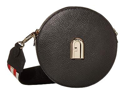 Furla Sleek Mini Crossbody Round (Nero/Toni Nero) Handbags