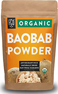 Organic Baobab Powder | 100% Raw from Zimbabwe- 12oz/340g Resealable Kraft Bag | by FGO