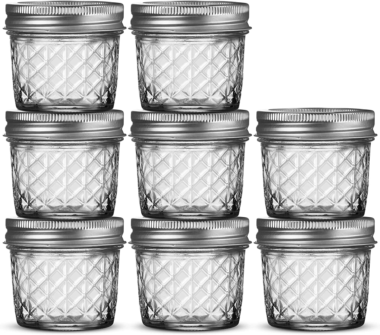 Ball Regular Mouth Mason Jars 4 oz [8 Pack] Ball Jelly Jars 4 oz with Lids For Canning, Fermenting, Conserving Syrups, Sauces, Jams, Baby Foods - Microwave/Freezer/Dishwasher Safe + SEWANTA Jar Opener