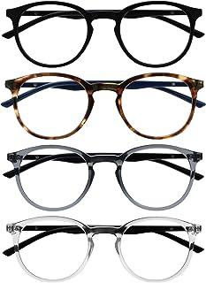 Opulize Met 4 Stuks Leesbril Groot Ronde Zwart Bruin Grijs Doorzichtig Mannen Vrouwen Scharnieren Met Veer RRRR60-127C +2,00