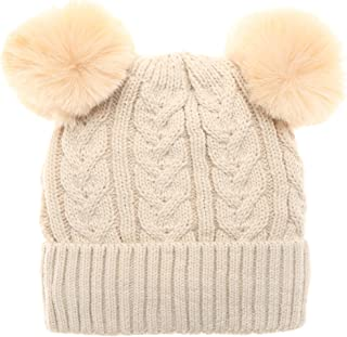 MIRMARU Women's Winter Cable Knitted Faux Fur Double Pom Pom Beanie Hat with Plush Lining.