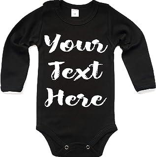 Tradebox Ihr WunschText Hier Baby Langarm Body Selbst Gestalten Dein individueller Druck Personalisiert Babykleidung Strampler Unterwäsche Geschenk Überraschung Geburtstag Weihnachten