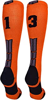 MadSportsStuff Player Id Jersey Number Socks Over The Calf Length Orange and Black