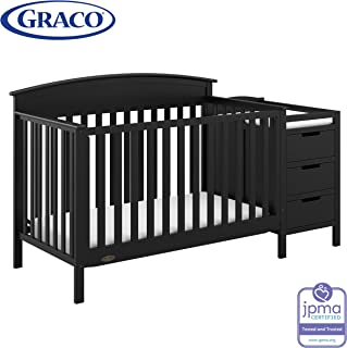 Graco Benton 4-in-1 Convertible Crib and Changer (Black) – Attached Changing Table with Water-Resistant Changing Pad, Space-Saving Storage with 3 Drawers and 3 Open Shelves