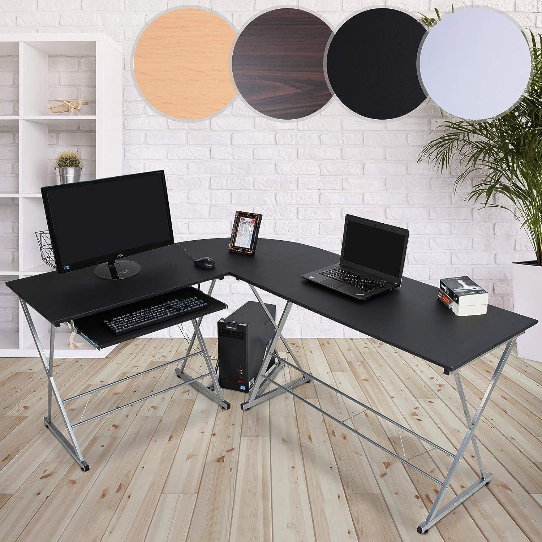 MIADOMODO Computertisch  L-Form, 170x136x75cm, ausfahrbare Tastaturablage, PC Ablage, Farbwahl  Winkelschreibtisch, Eckschreibtisch, Bürotisch, Arbeitstisch, Laptop PC Studie Tisch