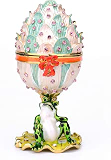 Furuida Collector's Edition of The Faberge Style Egg: The Unique Design Jewelry Trinket Box with Rich Enamel and Sparkling Rhinestones Perfect to Store Your Jewelry Luxurious Gift for Home Decor
