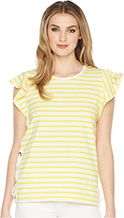 Striped Cotton Flutter Sleeve T-Shirt