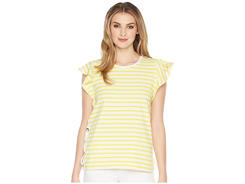 LAUREN Ralph Lauren Striped Cotton Flutter Sleeve T-Shirt (Mascarpone Cream/Hampton Yellow) Women