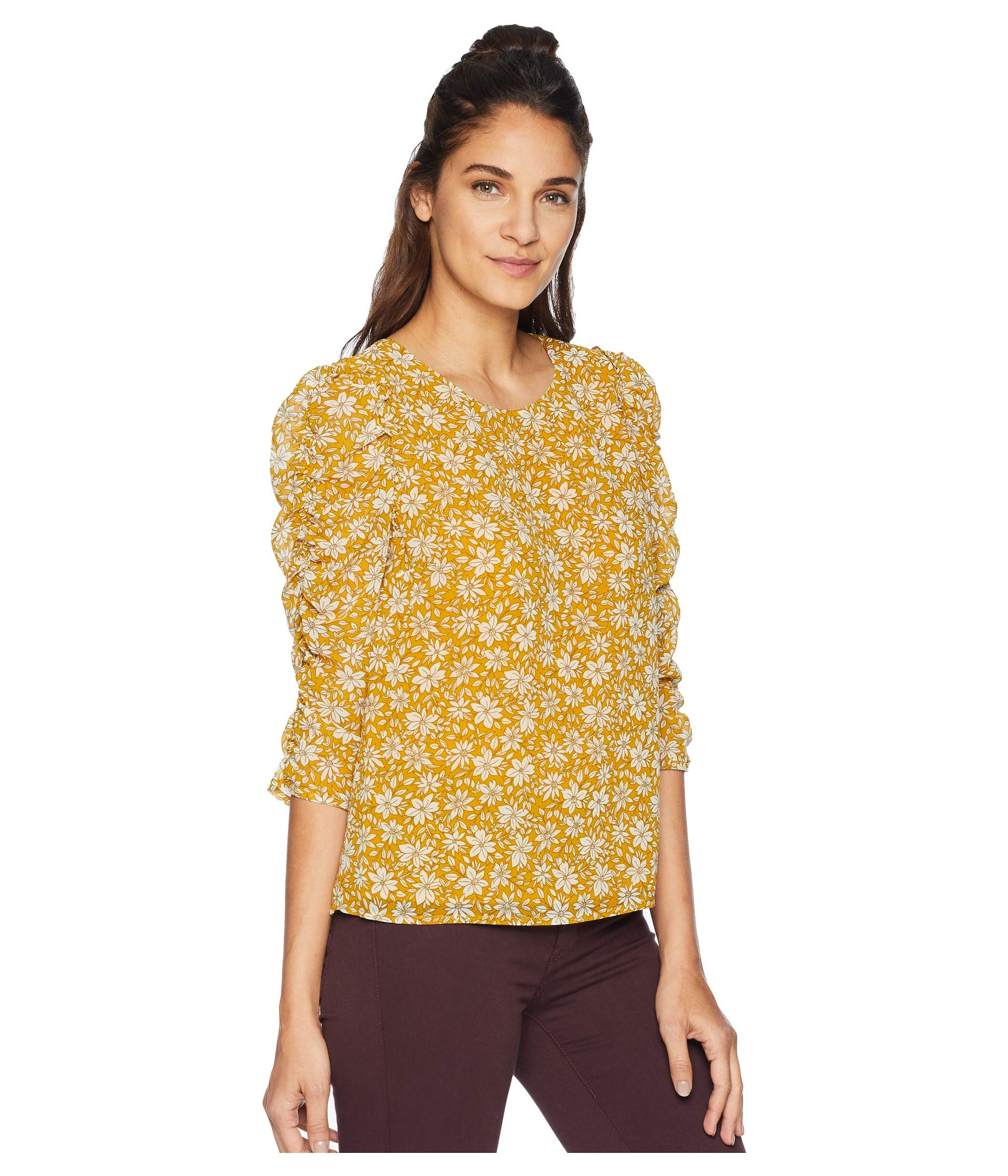 Blouse Ruched Sleeve Wild state Blooms 1 Pot Honey qaR11X