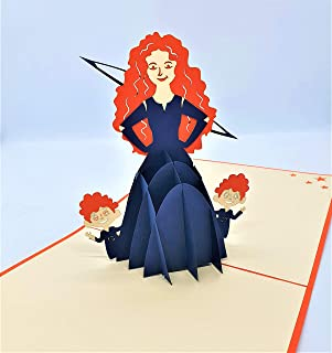 BC Worldwide Ltd carta pop-up 3D fatta a mano capelli rossi principessa Arco e freccia compleanno anniversario di matrimon...