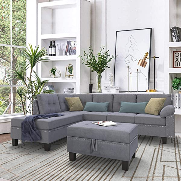 BEIZ TRADING Sectional Sofa Set With Chaise Lounge And Storage Ottoman Nail Head Detail For Living Room Furniture Grey