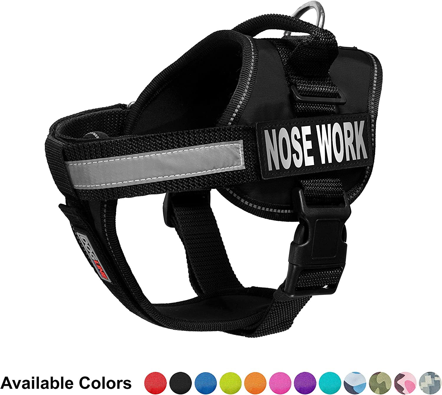Dogline Vest Harness for Dogs and 2 Removable Nose Work Patches, Small 18 to 25 , Black