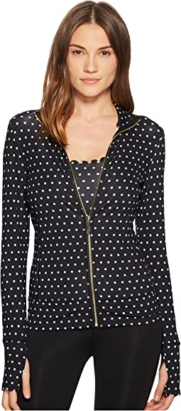 Kate Spade New York Athleisure Polka Dot Scallop Jacket