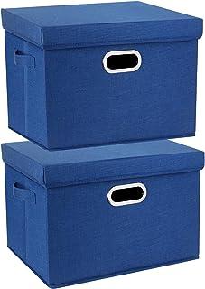 TYEERS Set van 2 grote opbergdozen met deksel en handvat, opvouwbare opbergdozen in kubusvorm, wasbaar, klassiek blauw