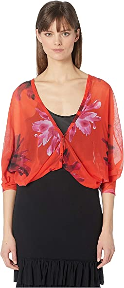 Red Fractured Flower Cardigan