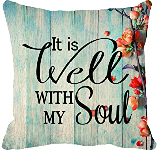 YFYMG Two Sided Print Inspirational Sayings It is Well with My Soul Retro Vintage Wood Grain Flowers New Home Decorative Soft Cotton Throw Cushion Cover Pillow Case Square 18 Inches