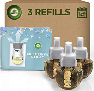 Airwick Air Freshener Electrical Plug in Bundle Pack (3 Refills), Crisp Linen & Lilac, Lasts Total Up to 3X 100 Days, Total Upto 300 Days