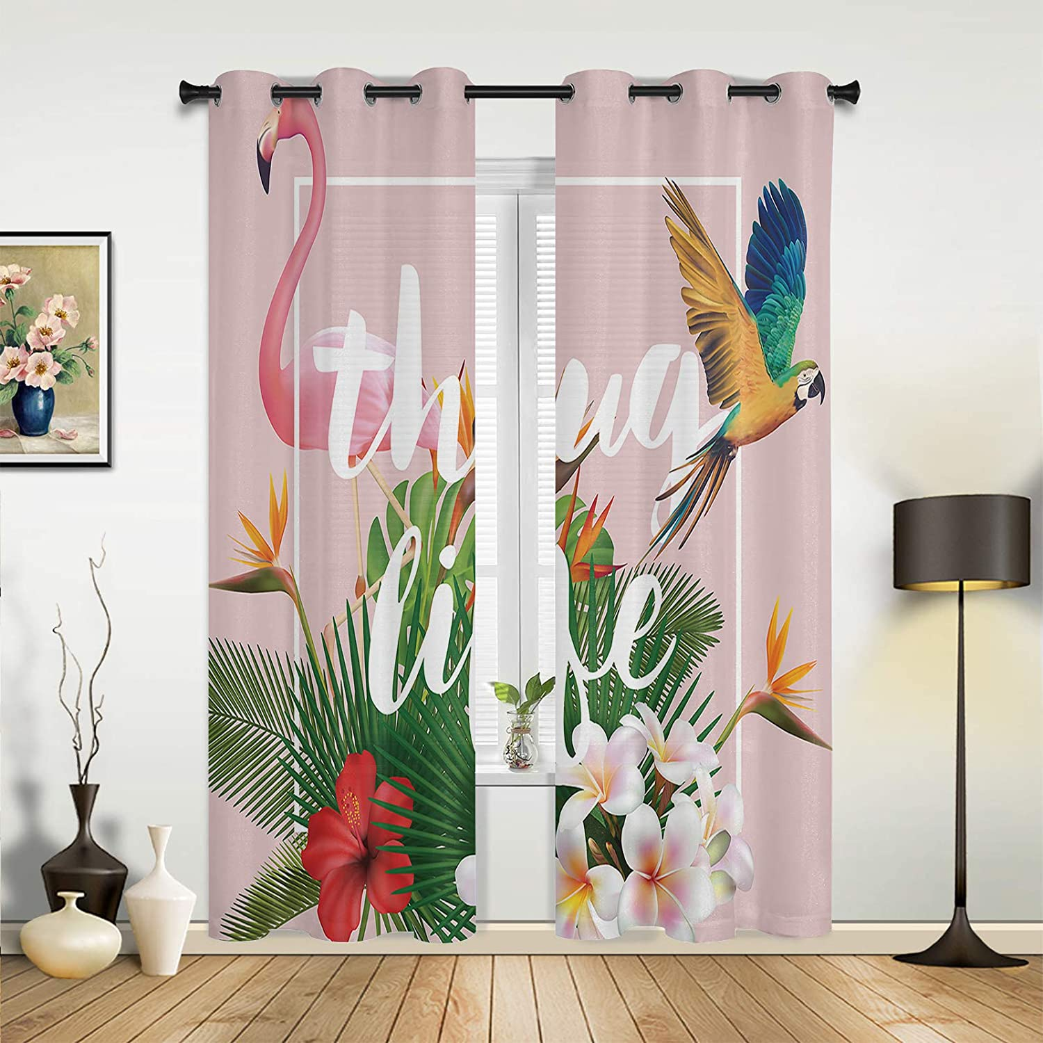 Window Curtains Drapes Panels Special price Ranking TOP18 Elegant Tropic Flamingo Macaw Pink