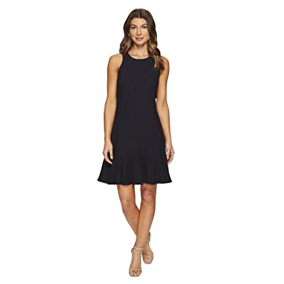 Rebecca Taylor Sleeveless Stretch Texture Ruffle Dress (Dark Navy) Women