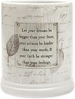 Dream Bigger Actions Louder Faith Stronger Grey Leaves White Ceramic Stone Jar Warmer