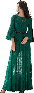 Verragee Round Collar 3/4 Length Sleeves with Ruffled Cuffs, High Waist Lace Long Maxi Dress