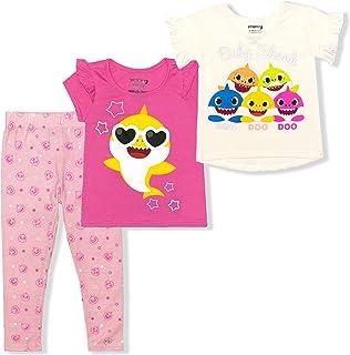 Sponsored Ad - Nickelodeon Girl's 3-Piece Baby Shark Tees and Legging Set, Pink/White