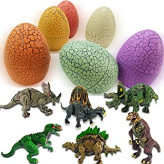 6 Pack Easter Hatching Eggs Prefilled with Realistic Dinosaurs Building Blocks Toy Assorted Jumbo Sizes 3.9 inches prefilled 3D Surprise Easter Egg Kids Easter Gifts Toys for Easter Hunt Party, Easter Basket Stuffers Fillers