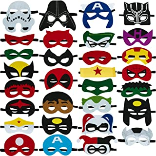 Totteri 30pcs Superhero Masks for Kids Birthday Costumes, Felt Mask Party Favor Cosplay Toy for Boys and Girls