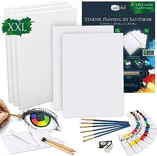 Artina Juego de pintura acrílica y lienzos de 30 piezas Santorini - Set de pintura con accesorios 12x12ml tubos de pintura acrílica, 5x lienzos, pincel, cuchillo de pintar y kit de dibujo