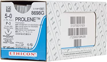 Ethicon PROLENE Polypropylene Suture, 8698G, Synthetic Non-absorbable, P-3 (13 mm), 3/8 Circle Needle, Size 5-0, 18'' (45 cm)