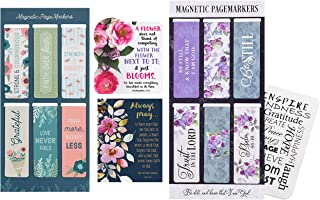 12 Inspirational Magnetic Bookmarks - with 2 Religious Christian Quote Magnets for Refrigerator, Motivational Card | Bookm...