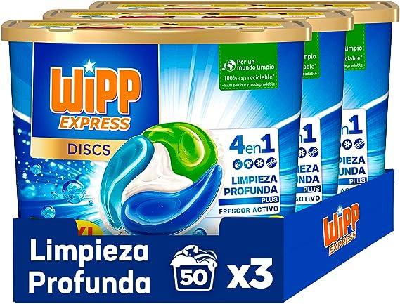 TALLA 105 dosis. Wipp Express DISCS 4 en 1, Limpieza Profunda Plus, Detergente en Cápsulas para Lavadora, 50 Discos - Pack de 3, Total: 150 Dosis