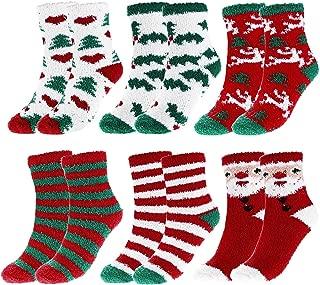 Womens Christmas Super Soft Fuzzy Plush Slipper Socks Winter Warm Fluffy Cozy Socks