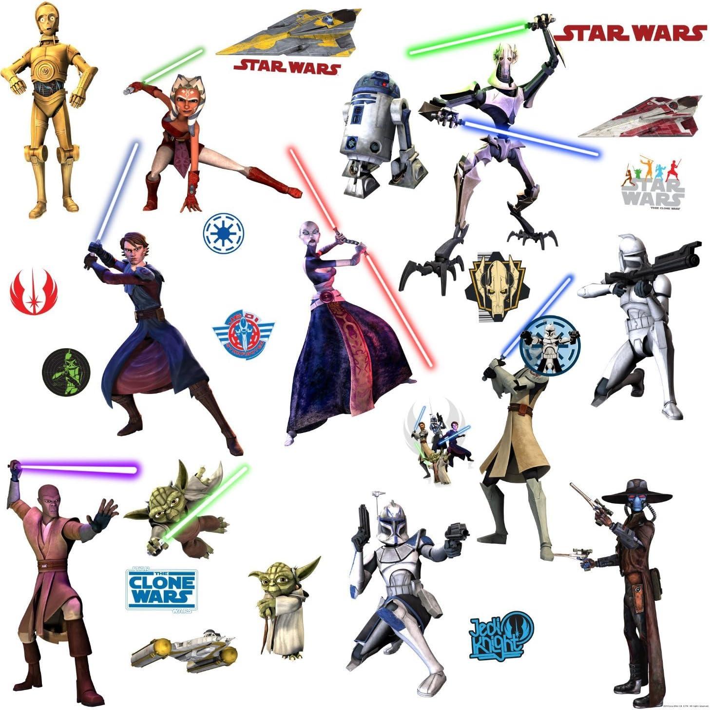 Star Wars Animated 12 Sheets Glow in the Dark Stickers New Pack Yoda Obi Wan